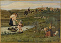Fine Art - Painting, European:Modern  (1900 1949)  , M. LOPEZ FERNANDEZ (Twentieth century). Family Traveling TowardsVillage. Oil on canvas. 15-1/2 x 21-3/4 inches (39.4 x ...