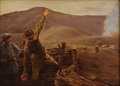 Fine Art - Painting, European:Modern  (1900 1949)  , JOSEPH FELIX BOUCHER (French 1853-1937). Launching an Attack, 1917. Oil on panel. 9-1/2 x 13 inches (24.1 x 33.0 cm). Si...