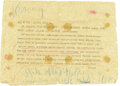 Autographs:Non-American, Vladimir Lenin Telegram with Autograph Note Signed....