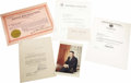 "Autographs:Celebrities, Five Important Labor-Related Signatures, as follows:. James R.Hoffa, Signed Photograph, 5"" x 7.25"". Ballpoint autograph...(Total: 5 Item)"