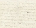 Autographs:Authors, Mark Twain Autograph Manuscript From His Unfinished Sequel to Adventures of Huckleberry Finn.... (Total: 3 Items)