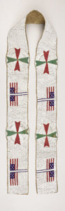 American Indian Art:Beadwork, A SIOUX PICTORIAL BEADED HIDE BLANKET STRIP. . c. 1890. ...