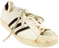 Basketball Collectibles:Uniforms, Early 1970's Wilt Chamberlain Game Worn Sneaker. A season's worthof strong wear is readily evident in the leather and rubbe...