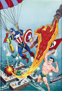 Alex Schomburg - Overstreet Comic Book Price Guide #10 Cover Featuring Captain America, The Human Torch, And The Sub-Mar...