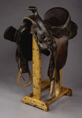 """Western Expansion:Cowboy, H. H. HEISER - DENVER, COLORADO 1/2 SEAT SADDLE - Same Stagg riggedcirca 1890 saddle with Cheyenne Roll and 15 ½"""" seat.. ..."""