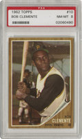 Baseball Cards:Singles (1960-1969), 1962 Topps Bob Clemente #10 PSA NM-MT 8 Clemente is captured here in his easygoing stance that erupted when he'd make contac...