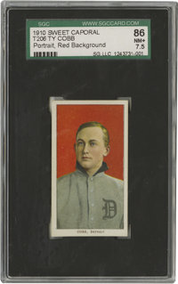 "1909-11 T206 Ty Cobb Portrait Red Background SGC 86 NM+ 7.5. ""I never could stand losing,"" Cobb once explained..."