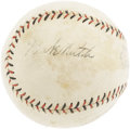 Autographs:Baseballs, Early 1920's Babe Ruth & Bob Meusel Signed Baseball. Two-thirdsof the New York Yankees outfield appear upon an early Offic...