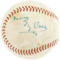 Autographs:Baseballs, 1950's Ty Cobb Single Signed Baseball. The first man honored in bronze by the Baseball Hall of Fame stands alone upon this ...