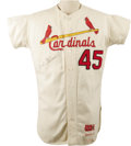 "Baseball Collectibles:Uniforms, 1967 Bob Gibson Game Worn Jersey. One of the fiercest competitorsin the game's long history, Gibson one explained ""I've pl..."
