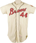 "Baseball Collectibles:Uniforms, 1965 Hank Aaron Game Worn Jersey. Though ""Beer City"" got its Brewers in 1970, the haunting black and white photograph of Ed..."