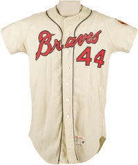 "1965 Hank Aaron Game Worn Jersey. Though ""Beer City"" got its Brewers in 1970, the haunting black and white pho..."
