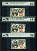 Fractional Currency:Fifth Issue, A Trio of Fr. 1265's 10c Fifth Issue PMG Gem Uncirculated 65EPQ.... (Total: 3 notes)