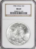 Modern Bullion Coins: , 1986 $1 Silver Eagle MS69 NGC. NGC Census: (53842/641). PCGSPopulation (3391/3). Mintage: 5,393,005. Numismedia Wsl. Price...