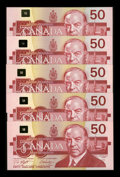 Canadian Currency: , Canadian 1988 Fifties in Gem Crisp Uncirculated.. ... (Total: 5notes)