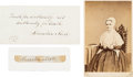 Autographs:Authors, Lucretia Mott Autograph Quotation Signed, with Carte deVisite and a Clipped Signature.... (Total: 3 Items)