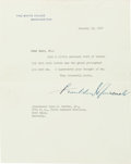 Autographs:Artists, Franklin D. Roosevelt Typed Letter Signed....