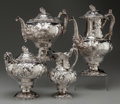 Silver Holloware, American:Tea Sets, A FOUR PIECE TIFFANY & CO. COIN SILVER TEA AND COFFEE SERVICE,Designed by John Moore, New York, New York, circa 1855. Marks...(Total: 4 Items)