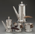 Silver & Vertu:Hollowware, A FOUR PIECE WILLIAM SPRATLING SILVER AND ROSEWOOD TEA AND COFFEE SERVICE, Taxco, Mexico, circa 1940. Marks: SPRATLING SIL... (Total: 4 )