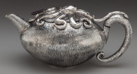 AN EMILIA CASTILLO SILVER AND ROSEWOOD OCTOPUS TEAPOT, Taxco, Mexico, current production Marks: EMILIA CASTILLO