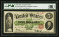 Large Size:Legal Tender Notes, Fr. 61a $5 1862 Legal Tender PMG Gem Uncirculated 66 EPQ.. ...