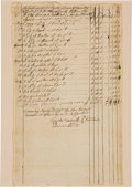 Autographs:Military Figures, [Revolutionary War]. Joseph Talcott Document Signed...