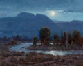 Fine Art - Painting, American:Contemporary   (1950 to present)  , JIM WILCOX (American, b. 1941). Moonlit Sleeping Indian. Oilon canvas. 15-3/4 x 20 inches (40.0 x 50.8 cm)...