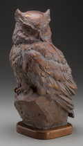 Sculpture, SANDY SCOTT (American, b. 1943). Owl, 1999. Bronze with brown patina. 12-1/2 inches (31.8 cm) high on a 1 inch (2.5 cm) ...