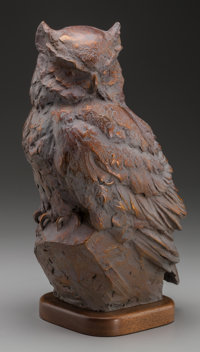 SANDY SCOTT (American, b. 1943) Owl, 1999 Bronze with brown patina 12-1/2 inches (31.8 cm) high o