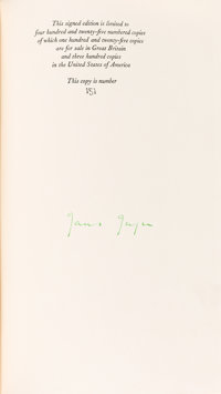 James Joyce. Finnegans Wake. London: Faber & Faber, 1939. First edition, number 151 of 425 c