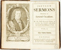 Books:Religion & Theology, John Sharp. Fifteen Sermons Preached on Several Occasions..... Vol. I. London: J. L. for Walter Kettilby, 1717....