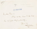 Books:Manuscripts, H. G. Wells Autograph Note Signed. One page on Wells' stationerynote card, 3.5 x 4.5 inches, Sandgate, March 10, 1908 inkst...