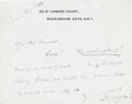 Books:Manuscripts, H. G. Wells Autograph Note Signed. One page on Wells' stationerynote card, 3.5 x 4.5 inches, Buckingham Gate, [n.d. - penci...