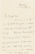 Books:Manuscripts, H. G. Wells Autograph Note Signed. One page, 5.5 x 3.5 inches, Brig[Switzerland], September 22, 1907....