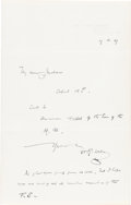 Books:Manuscripts, H. G. Wells Autograph Note Signed. One page, 7 x 4.5 inches folded,Sandgate, March 17, 1907. Written on recto of first page...