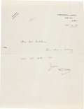 Books:Manuscripts, H. G. Wells Autograph Note Signed. One page on one sheet of Wells'stationery, 10.5 x 8.25 inches. Whitehall Court, November...