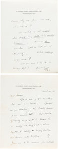 Books:Manuscripts, H. G. Wells Autograph Letter Signed. Two pages on two leaves of Wells' stationery note paper, 7 x 5.5 inches, Clarence Gate,...