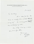 Books:Manuscripts, H. G. Wells Autograph Letter Signed. One page on Wells' stationerynote paper, 9 x 7 inches, Regent's Park, January 21, 1937...