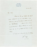 Books:Manuscripts, H. G. Wells Autograph Letter Signed. One page on Wells' stationerynote paper, 10.5 x 8.25 inches, Saint Mathieu Grasse, Aug...