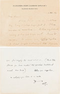Books:Manuscripts, H. G. Wells Autograph Letter Signed. Two pages on one leaf of Wells' stationery note card, 3.5 x 4.5 inches, Clarence Gate,...