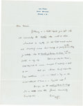 Books:Manuscripts, H. G. Wells Autograph Letter Signed. One page on Wells' stationerynote paper, 10.5 x 8.25 inches, Saint Mathieu Grasse, [n....