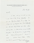 Books:Manuscripts, H. G. Wells Autograph Letter Signed. One page on Wells' stationerynote paper, 9 x 7 inches, Regent's Park, July 28, 1937. ...