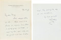 Books:Manuscripts, H. G. Wells Autograph Letter Signed. Two pages on Wells' stationerynote paper, 7 x 11 inches, unfolded. Regent's Park, Sept...