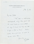 Books:Manuscripts, H. G. Wells Autograph Letter Signed. One page on Wells' stationerynote paper, 7 x 4.5 inches, Regent's Park, July 11, 1943....