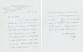 Books:Manuscripts, H. G. Wells Autograph Letter Signed. Two pages on Wells' stationerynote paper, 7 x 4.5 inches, Regent's Park, July 8, 1942....