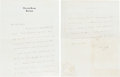 Books:Manuscripts, H. G. Wells Autograph Note Signed. Two pages on one leaf of Wells'stationery paper, 9 x 7 inches, Easton Glebe, [n.d.]....