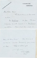 Books:Manuscripts, H. G. Wells Autograph Note Signed. Two pages on Wells' stationerycard, 3.5 x 4.5 inches, Hampstead, [n.d.]....