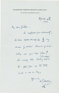 Books:Manuscripts, H. G. Wells Autograph Letter Signed. One page Wells' stationery note paper, 7 x 4.5 inches, Regent's Park, Feb 16, 1943....