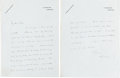 Books:Manuscripts, H. G. Wells. Autograph Letter Signed. Two pages on Wells'stationery paper, 9 x 7 inches, Hampstead, [n.d.]....