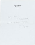 Books:Manuscripts, H. G. Wells Autograph Note Signed. One page on Wells' stationery paper, 9 x 7 inches, Easton Glebe, [n.d.]....